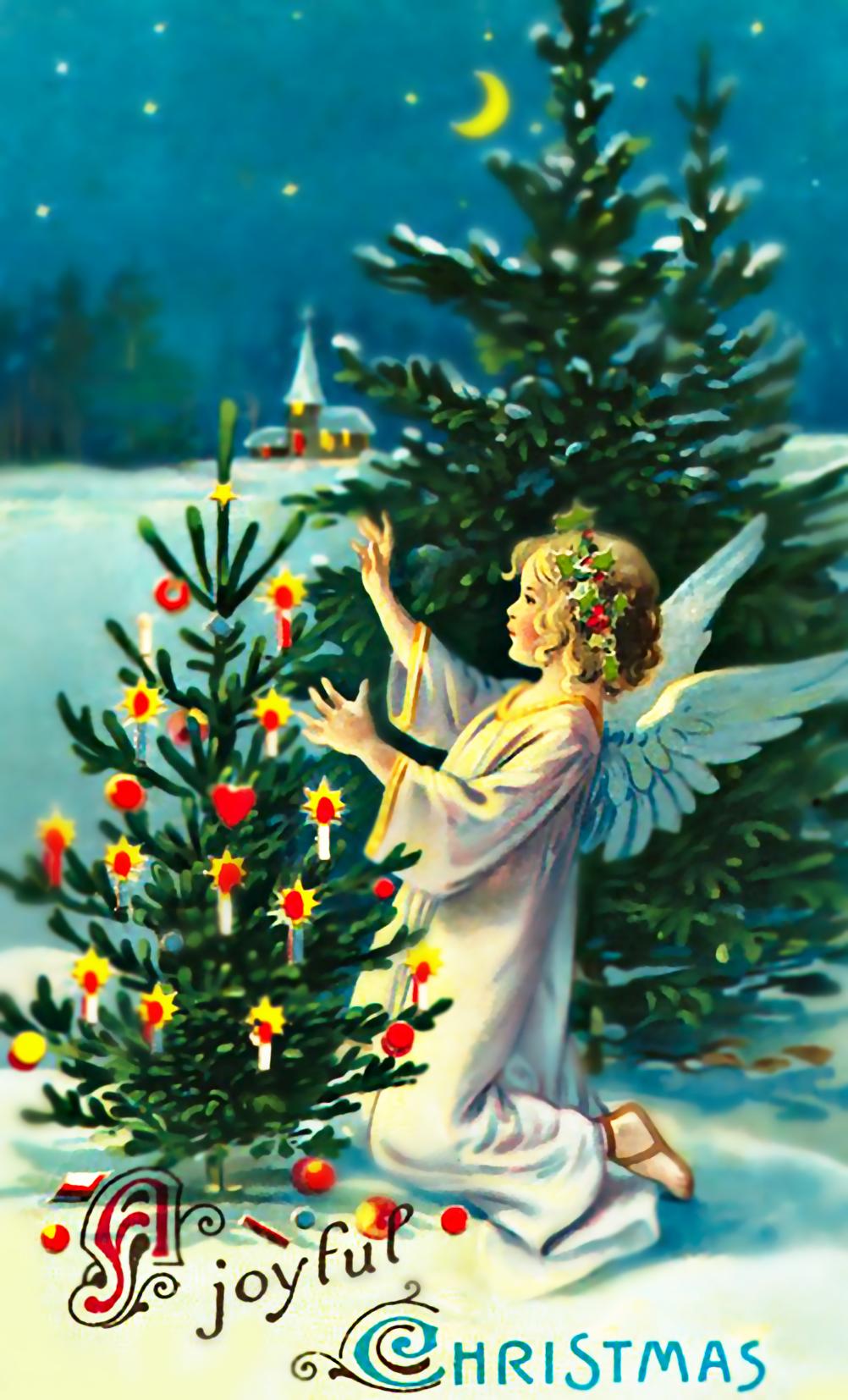 Vintage Christmas Angel And Tree Graphic