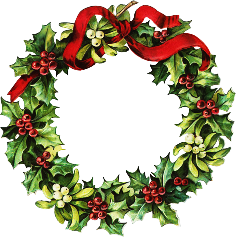 victorian christmas wreath clipart