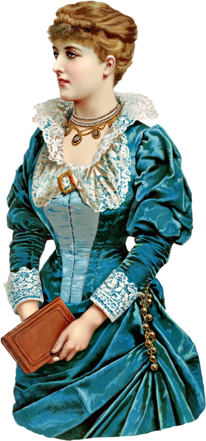 Victorian Lady In Blue Clipart