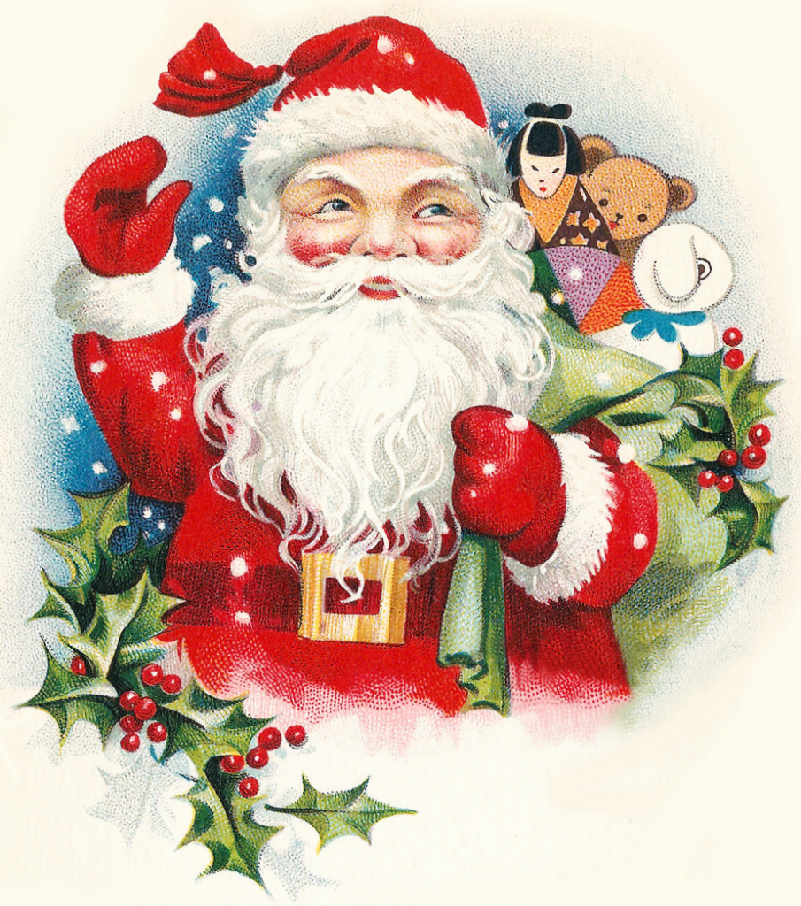 Toys From Santa : Cheerful vintage santa with toys clipart